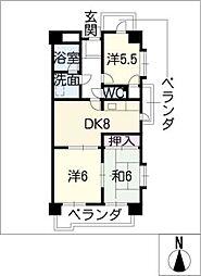 エスポア日吉[6階]の間取り