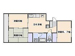 第三桂ビル 3階3DKの間取り