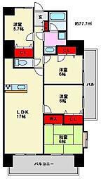 福岡県福岡市南区西長住3丁目の賃貸マンションの間取り