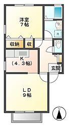 ピュアアムール B棟[1階]の間取り