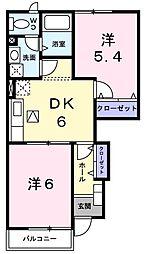 JR山陽本線 明石駅 バス21分 西区役所前下車 徒歩5分の賃貸アパート 1階2DKの間取り