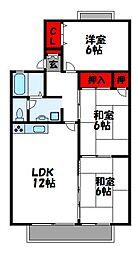 福岡県宗像市田熊3丁目の賃貸アパートの間取り