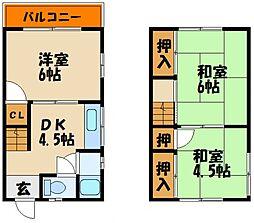兵庫県明石市魚住町西岡の賃貸アパートの間取り