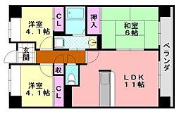 サニークレスト平野西脇[804号室]の間取り