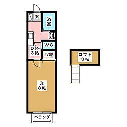 アヴァンセ富沢南 七番館[2階]の間取り