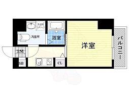 阪神本線 尼崎駅 徒歩9分の賃貸マンション 3階1Kの間取り