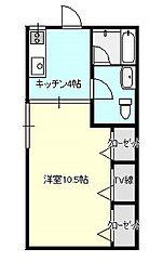 茨城県土浦市生田町の賃貸アパートの間取り