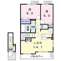 バス 三方原西下車 徒歩1分の賃貸アパート 2階2LDKの間取り