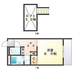 広島県尾道市門田町の賃貸アパートの間取り