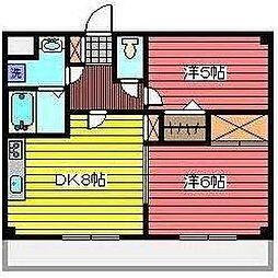 埼玉県戸田市喜沢1丁目の賃貸マンションの間取り