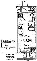 クラリッサ川崎ブルーノ 7階ワンルームの間取り