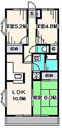 サニープレスキャッスルA[3階]の間取り