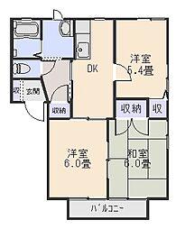 ニューフォーブルC[1階]の間取り
