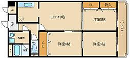 ルモンドオサカベ( 駐 車 場 1 台 無 料 )[2階]の間取り