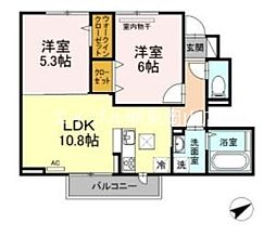 (仮)D-room赤磐高屋 1階2LDKの間取り