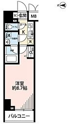 東京メトロ千代田線 湯島駅 徒歩1分の賃貸マンション 10階1Kの間取り