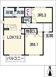 Pal Court B棟[2階]の間取り
