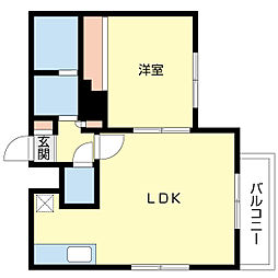 シャルム大通東II 1階1LDKの間取り