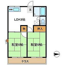 ベスゾーネヤマナII[203号室]の間取り