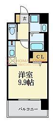 西鉄天神大牟田線 西鉄平尾駅 徒歩8分の賃貸マンション 7階ワンルームの間取り