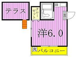 ハンプトンコート新松戸[201号室]の間取り