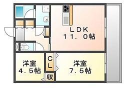 JR福塩線 神辺駅 徒歩5分の賃貸アパート 3階2LDKの間取り