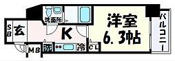 阪急神戸本線 春日野道駅 徒歩1分の賃貸マンション 10階1Kの間取り