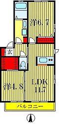埼玉県三郷市栄2丁目の賃貸アパートの間取り