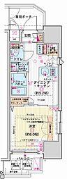 都営三田線 内幸町駅 徒歩7分の賃貸マンション 7階1DKの間取り