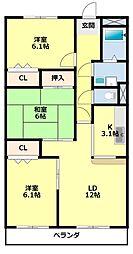 愛知県みよし市三好丘旭4丁目の賃貸マンションの間取り