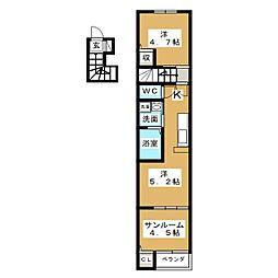 宮城県仙台市太白区中田5の賃貸アパートの間取り