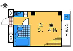 シャトレ高田馬場 5階ワンルームの間取り