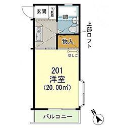 神奈川県横浜市戸塚区上矢部町の賃貸アパートの間取り