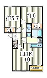 エスポアール[1階]の間取り