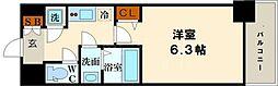 ファーストフィオーレ難波南パークサイド 5階1Kの間取り