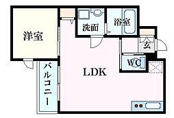 月光南観音五番館 1階1LDKの間取り