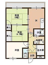 滋賀県野洲市西河原の賃貸マンションの間取り