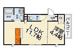 南海線 浜寺公園駅 徒歩8分の賃貸マンション 2階1LDKの間取り