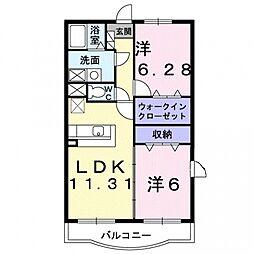 埼玉県行田市城西3丁目の賃貸アパートの間取り