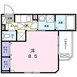 JR片町線(学研都市線) 鴻池新田駅 徒歩10分の賃貸アパート 1階1Kの間取り