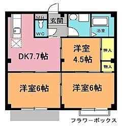 埼玉県北本市緑4丁目の賃貸アパートの間取り