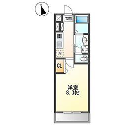 小田急小田原線 愛甲石田駅 徒歩8分の賃貸アパート 1階1Kの間取り