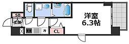 エスリード大阪CENTRAL AVENUE 4階1Kの間取り