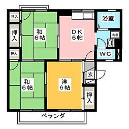 愛知県額田郡幸田町大字深溝字三角田の賃貸アパートの間取り
