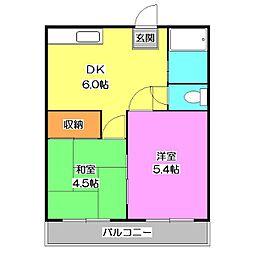 埼玉県新座市栗原6丁目の賃貸アパートの間取り