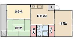 緑ヶ丘ローヤルコーポ[5階]の間取り