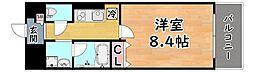 阪急神戸本線 六甲駅 徒歩12分の賃貸マンション 4階1Kの間取り