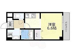 能勢電鉄妙見線 滝山駅 徒歩4分の賃貸マンション 3階1Kの間取り