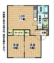 福岡県北九州市小倉南区下貫3丁目の賃貸アパートの間取り