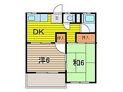 秋弘コーポ[3階]の間取り